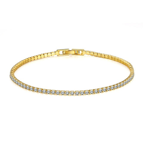 Image of Gold Iced Out 1 Row Rhinestones Men Bracelet (Free)