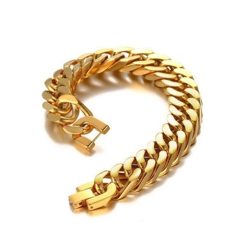 Image of Mens Gold Figaro Bracelet