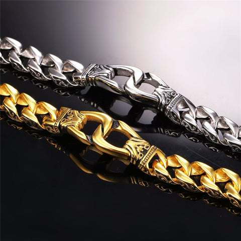 Punk Big Heavy Bracelet Engagement Chain Bracelet 15mm