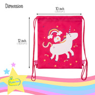 Unicorn Party Favor Bags - Pack Of 12 Reusable Drawstring Backpacks For Kids - Funky Toys
