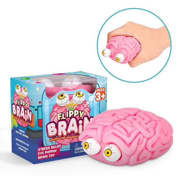 Squishy Eye Popping Brain By Funky Toys | Large Squeeze Toy | Stress Relief Game - Funky Toys