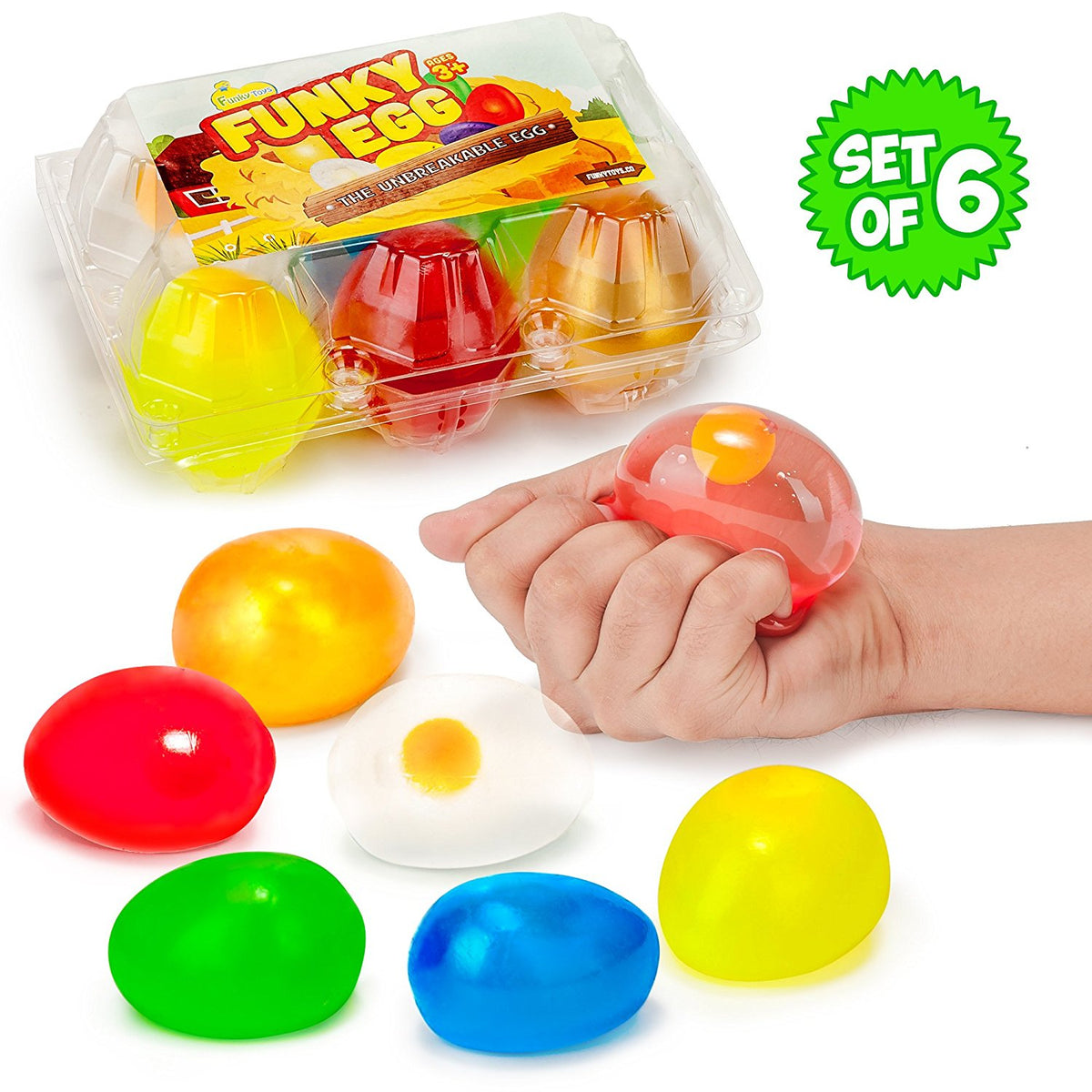 Funky Egg Splat Ball Squishy Toys | 6 Pack | Stress Relief Eggs Yolk Balls - Funky Toys