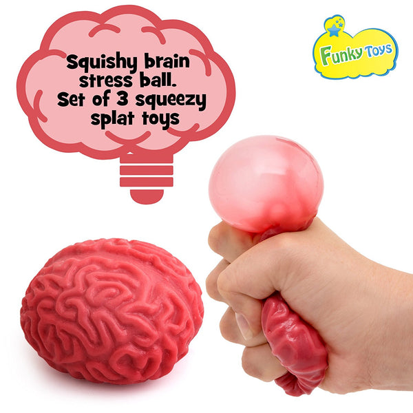 Squishy Brain Fidget Splat Ball - 3 Pack - Funky Toys