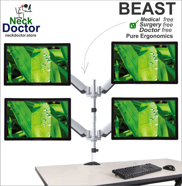 Ergonomic Multiple 4 Monitor Arm Stand - NeckDoctor BEAST