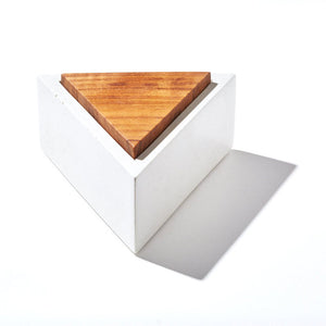 Triangle Concrete Box White With Walnut Lid