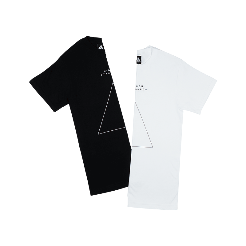 Higher Standards Triangle Embroidered Tee (Black & White)