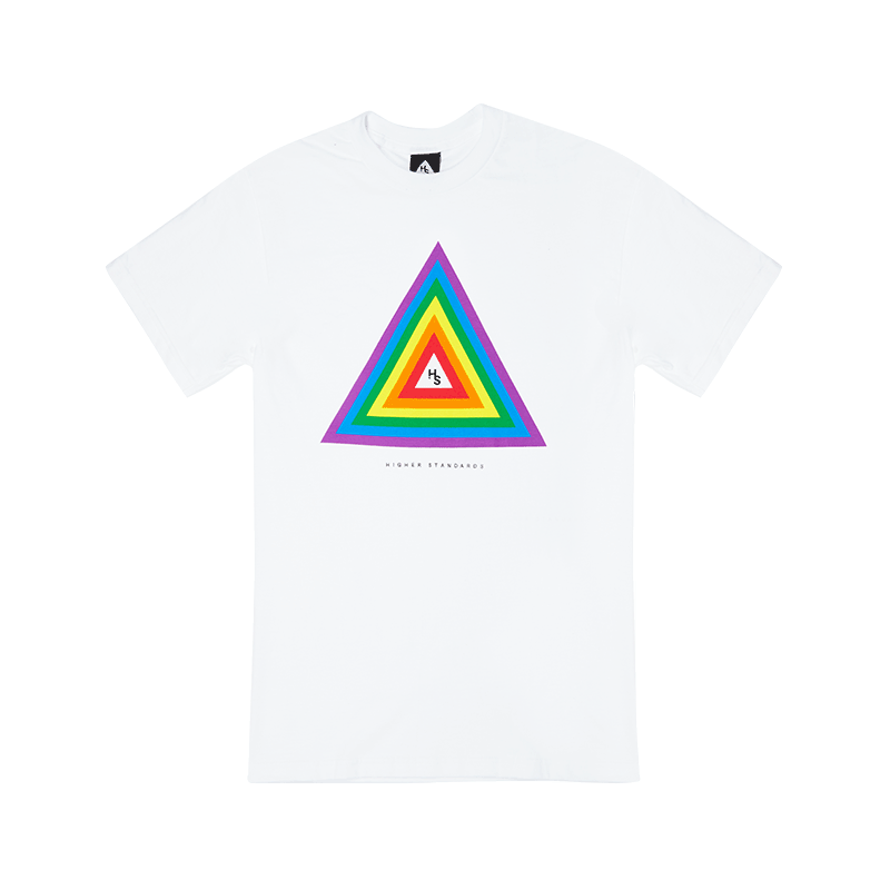 Higher Standards Concentric Triangle Tee (Rainbow) White -