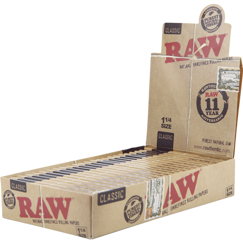 Raw Natural Unrefined 1 1/4 (24 Packs Per Box, 50 Papers Per Pack)