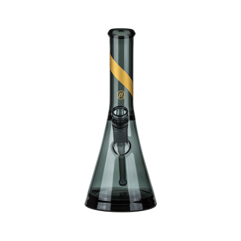Marley Natural Smoked Glass Water Pipe With Gold Stripe Decal