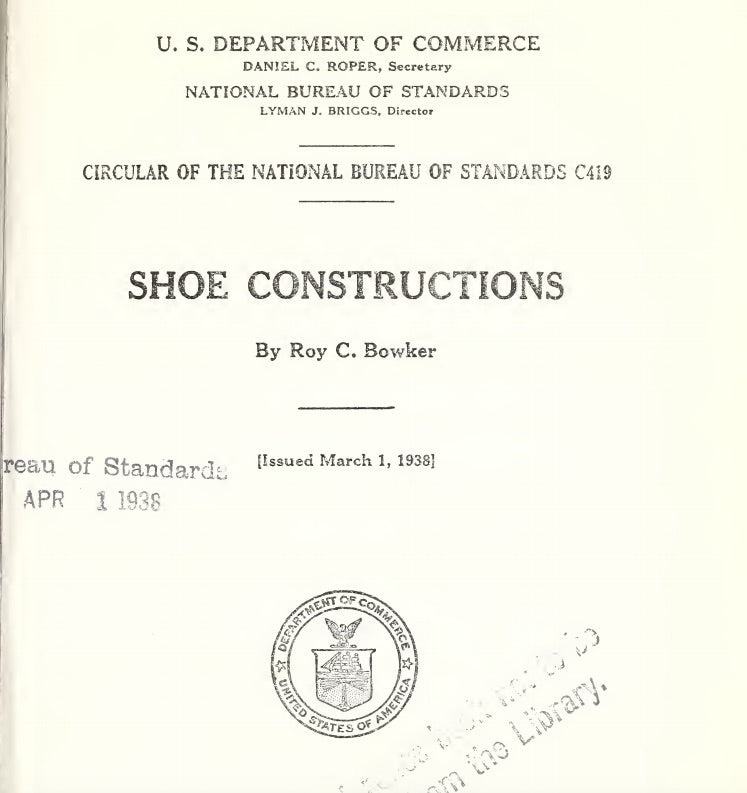 History Circa 1938: US Dept. of Commerce Report on Shoe Constructions