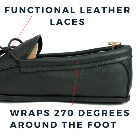 Functional Leather Laces Wrap 270 Degrees around the foot, Image of side profile of the KFG Spring Grove Moccasins in black tumbled cowhide showcasing where the lace wraps around the shoe securing the foot in place.