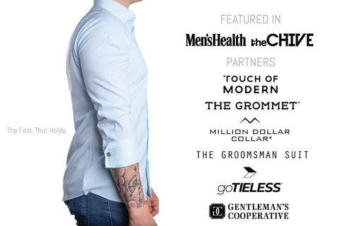 FLXCUF Featured in Men's Health, The Chive, Touch of Modern, The Grommet, Million dollar collar, the groomsman suit, gotieless, gentleman's cooperative. The Fold, that holds, image of the upper body of man facing right to show right arm and sleeve that is neatly folded thanks to the FLXCUF