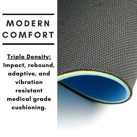 Triple Density: Impact, rebound, adaptive, and vibration resistant medical grade cushioning.