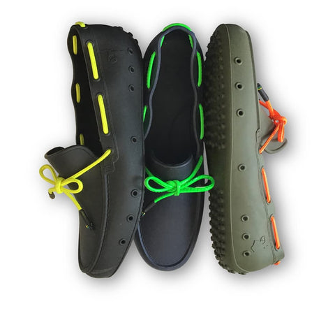 Cactoes rubber moccassins black navy and khaki
