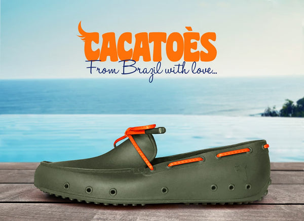 Cactoes Logo From Brazil with love... with image of Khaki Rubber Moccassin on a dock in front of the ocean