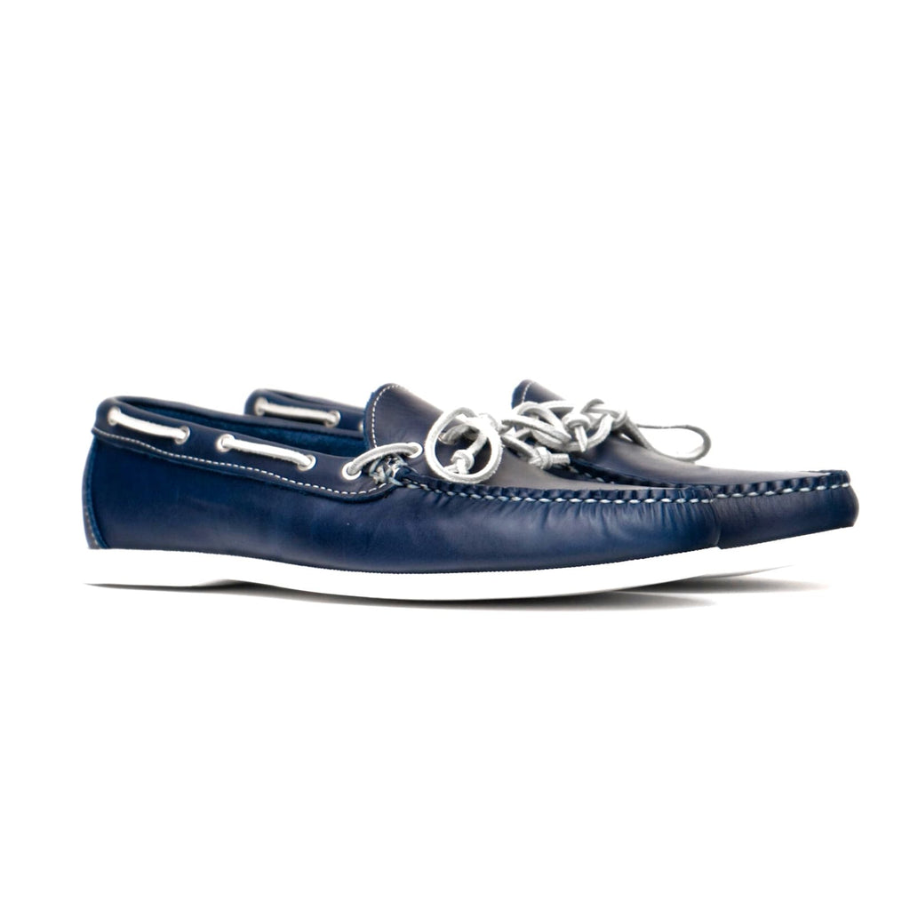 Dexter USA Moccasin - Navy Oiled Leather - White Boat Sole