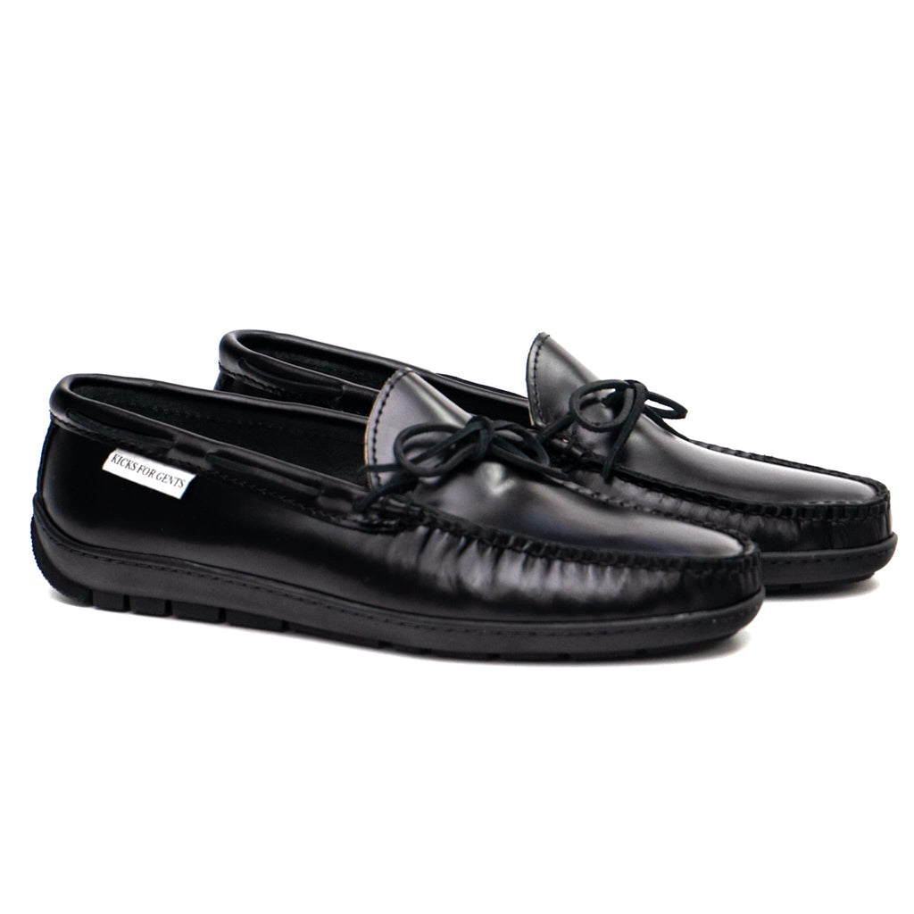 GMTO Driving Moc Tie Loafers- Black Oiled Full Grain Leather