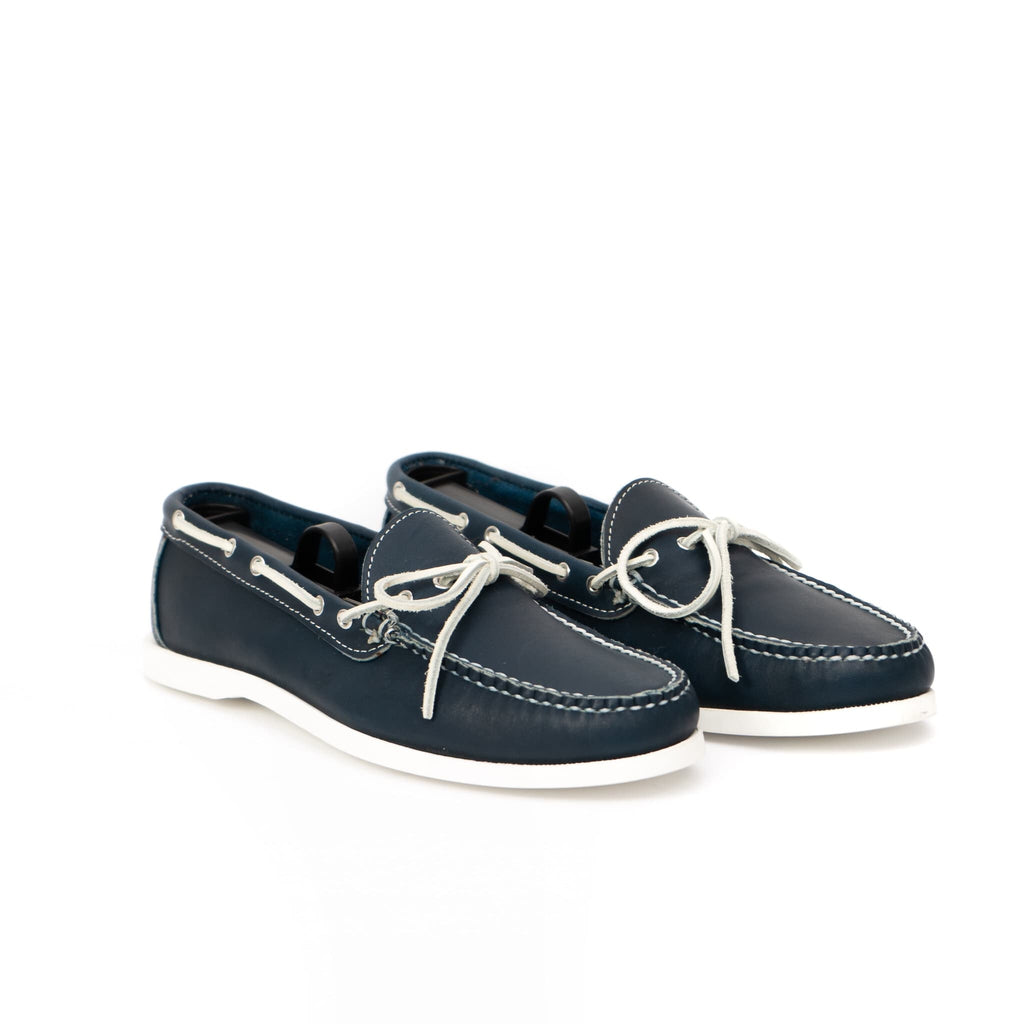 Dexter USA Camp Moc - Navy Full Grain Leather - White Boat Sole