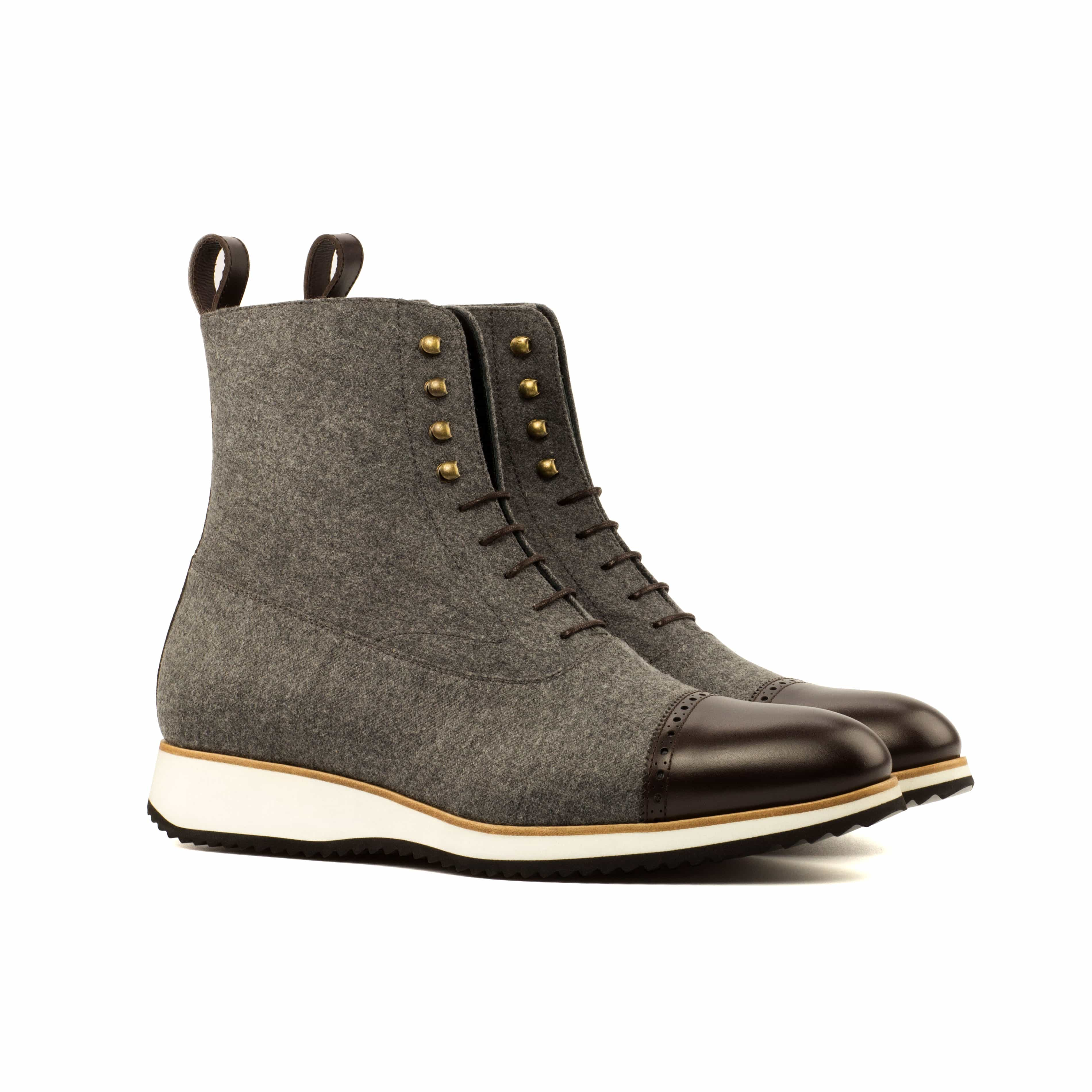Balmoral Boot - Runner Grey Flannel & Brown Calf - Kicks For Gents - Boots -