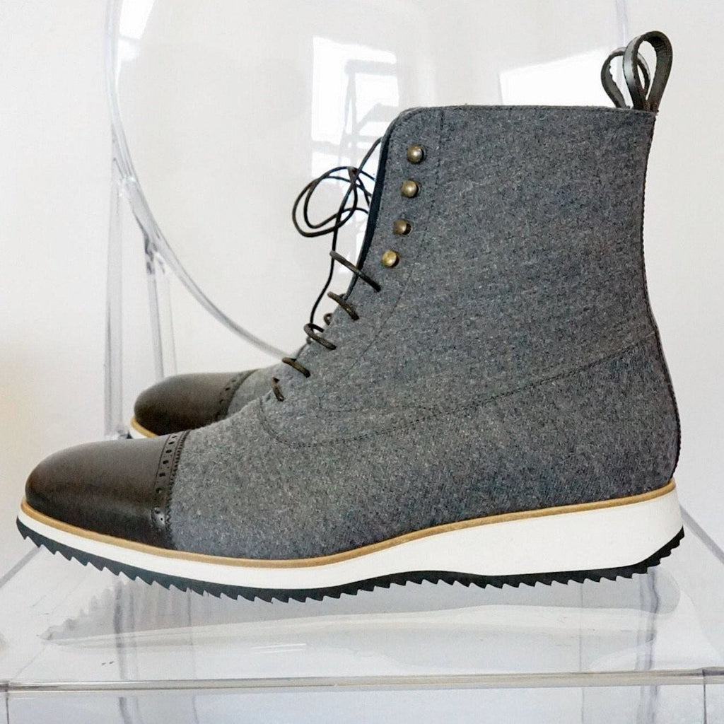 Balmoral Boot - Runner Grey Flannel & Brown Calf