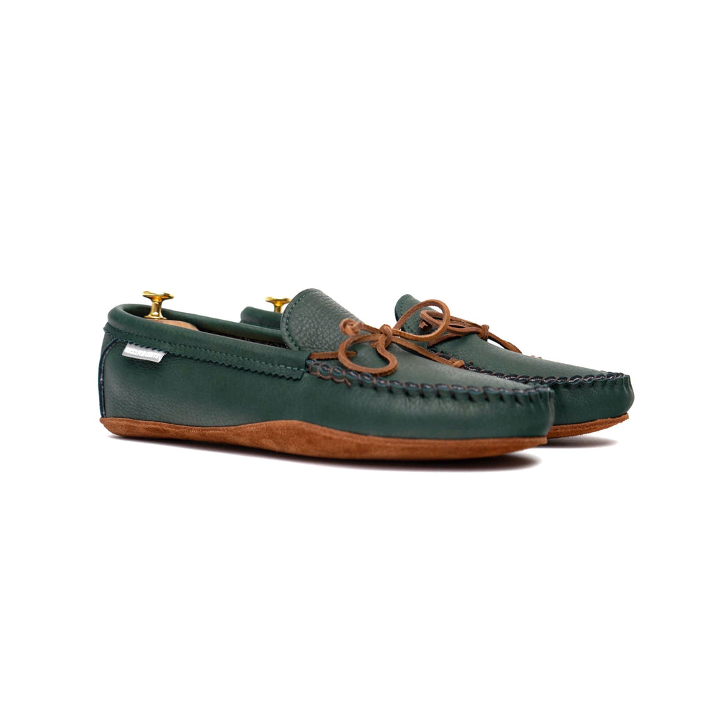 GMTO Spring Grove House Moccasins - Hunter Green Deerskin - Soft Leather Soles