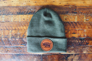 Hop Hog Leather Patch Beanie