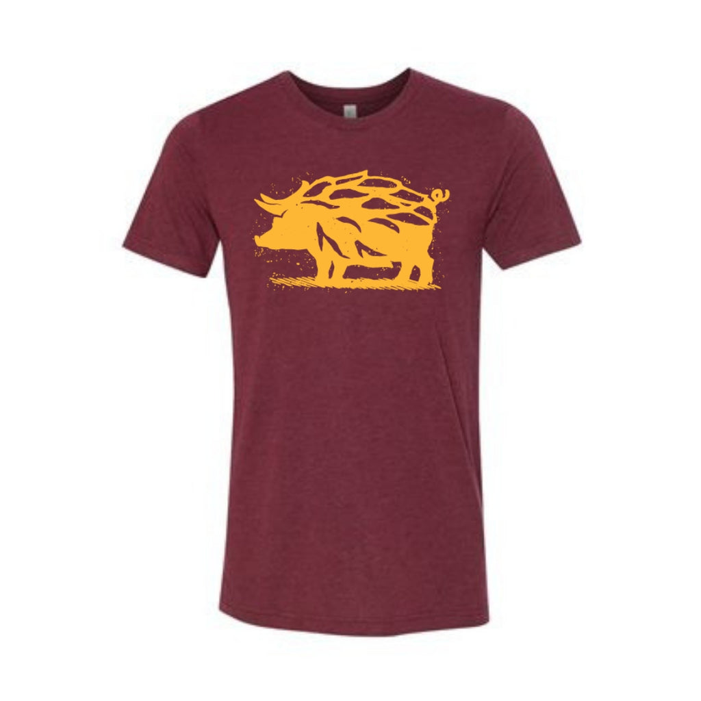 Wine & Gold Hop Hog T-Shirt