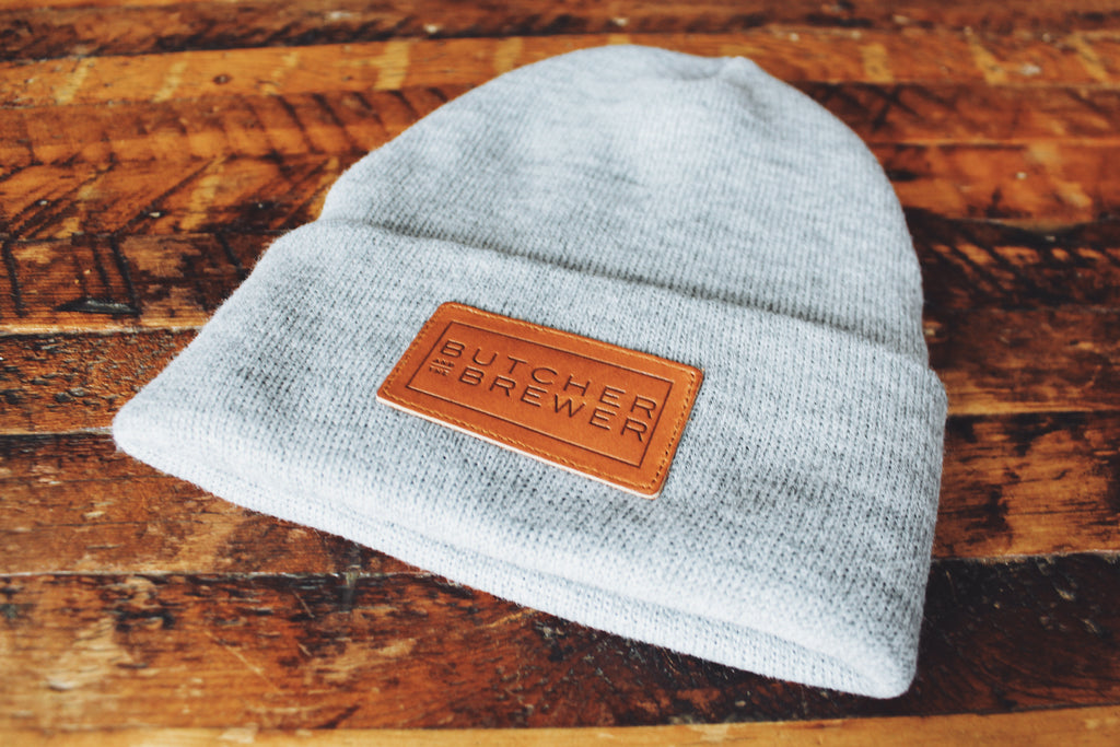 Butcher and the Brewer Leather Patch Beanie