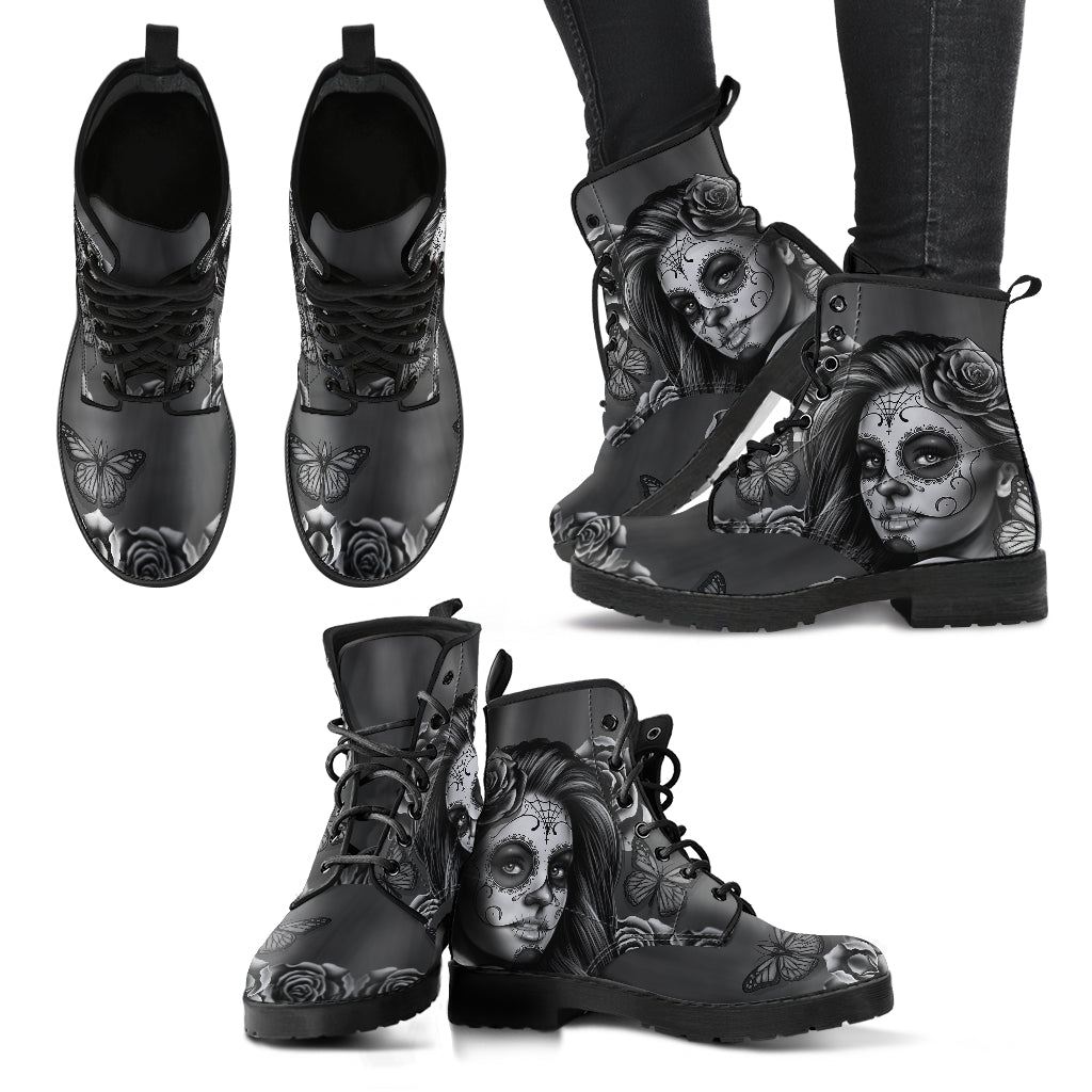 Calavera Bianco&Nero - Leather Boots Donna -
