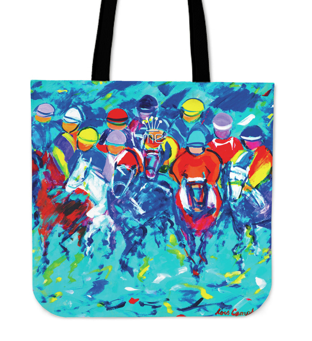 Turquoise Horse Racing Tote Bag