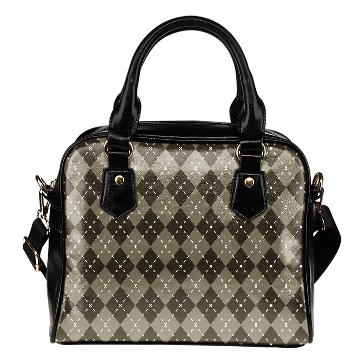 Chocolate Argyle Shoulder Handbag