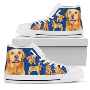 Golden Retriever - Azzurro Sneakers Alte Donna  -