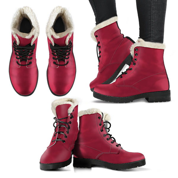 Jester Red - Faux Fur Leather Boots
