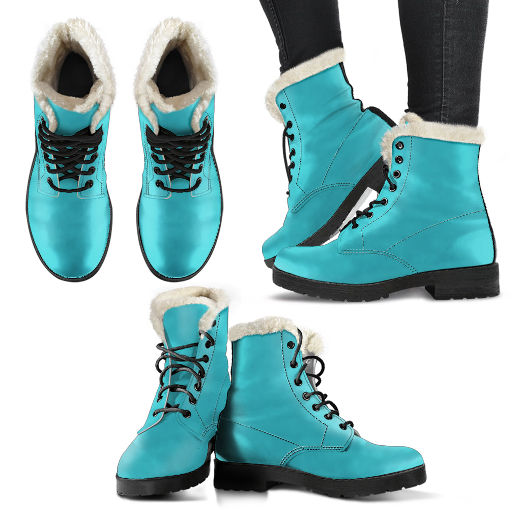 Dark Turquoise - Faux Fur Leather Boots