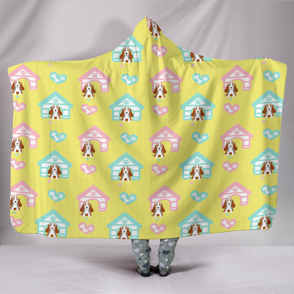 Bassett Hounds Hooded Blanket