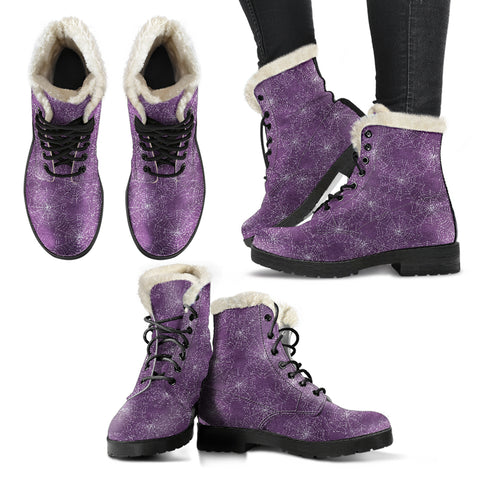 Spider Web Faux Fur Lined Purple Boots