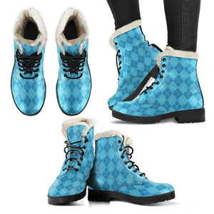 Blue Argyle Faux Fur Leather Boots