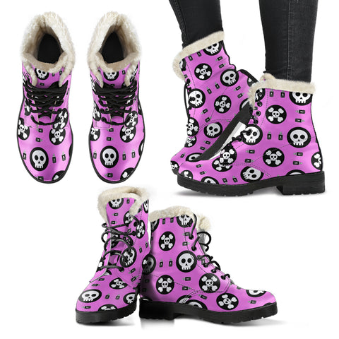 Skulls and Potion Faux Fur Leather Boots
