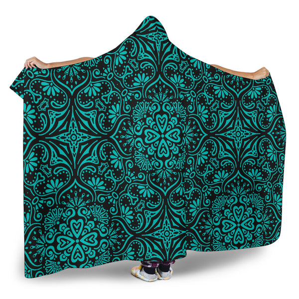 Bohemian Tiffany Girl (Black) - Hooded Blankets