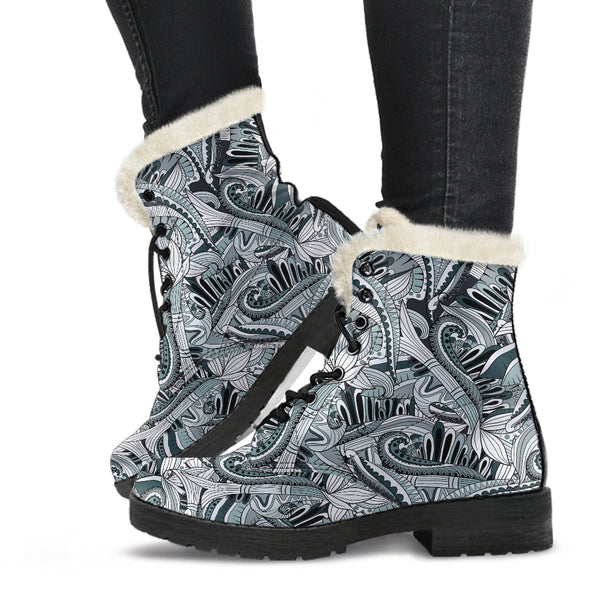 Funky Patterns in Blacks - Faux Fur Leather Boots
