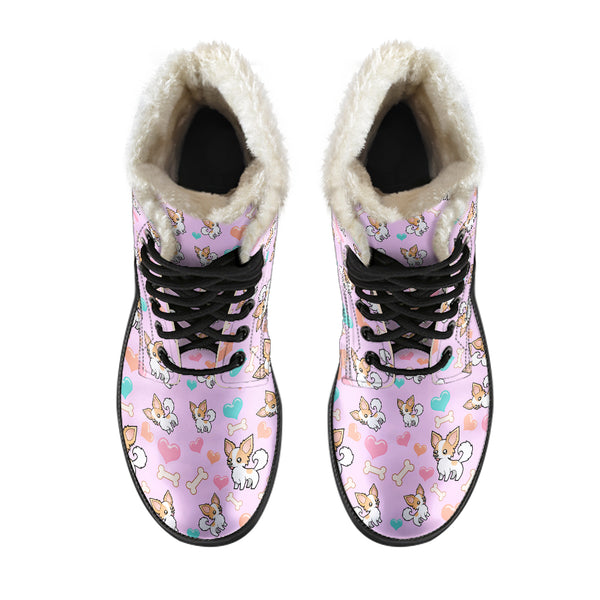 Chihuahua Lovers Faux Fur Leather Boots