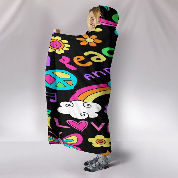 Peace & Love Hooded Blanket