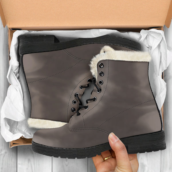 Brown Granite - Faux Fur Leather Boots