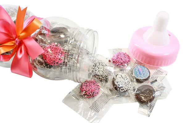 Gourmet Chocolate Covered Cookie Baby Bottle - Baby Girl - Dark Chocolate