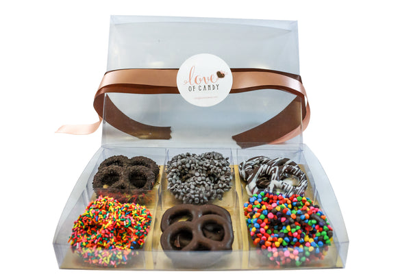 Gourmet Chocolate Covered Pretzel Gift Box, Dark Chocolate - Parve