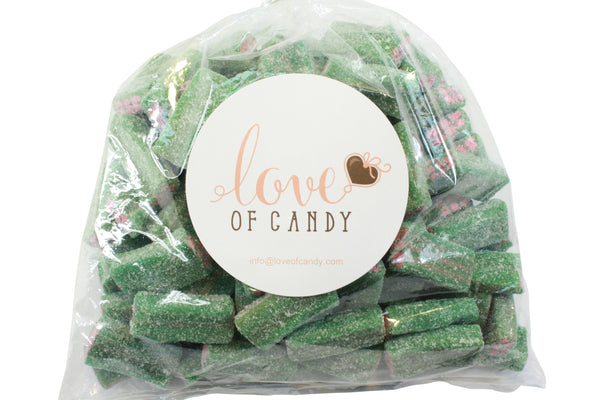 Bulk Candy - Sour Green Licorice Cubes - Long