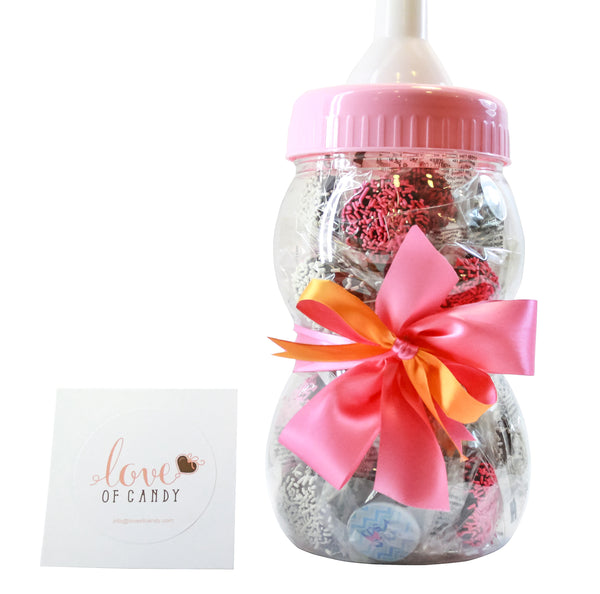 Gourmet Chocolate Covered Cookie Baby Bottle - Baby Girl - Assorted Chocolate
