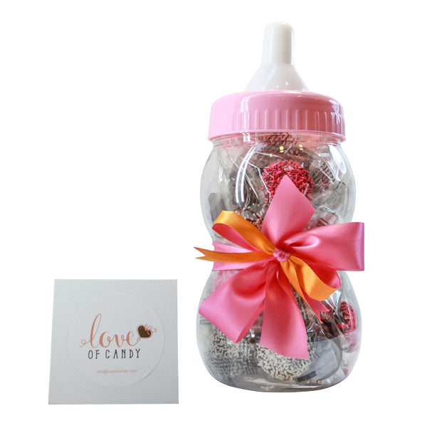 Gourmet Chocolate Covered Cookie Baby Bottle - Baby Girl - Milk Chocolate