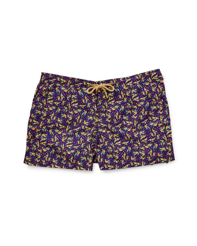 Athena Birds Shorts in Purple-Womens Swim-Thorsun