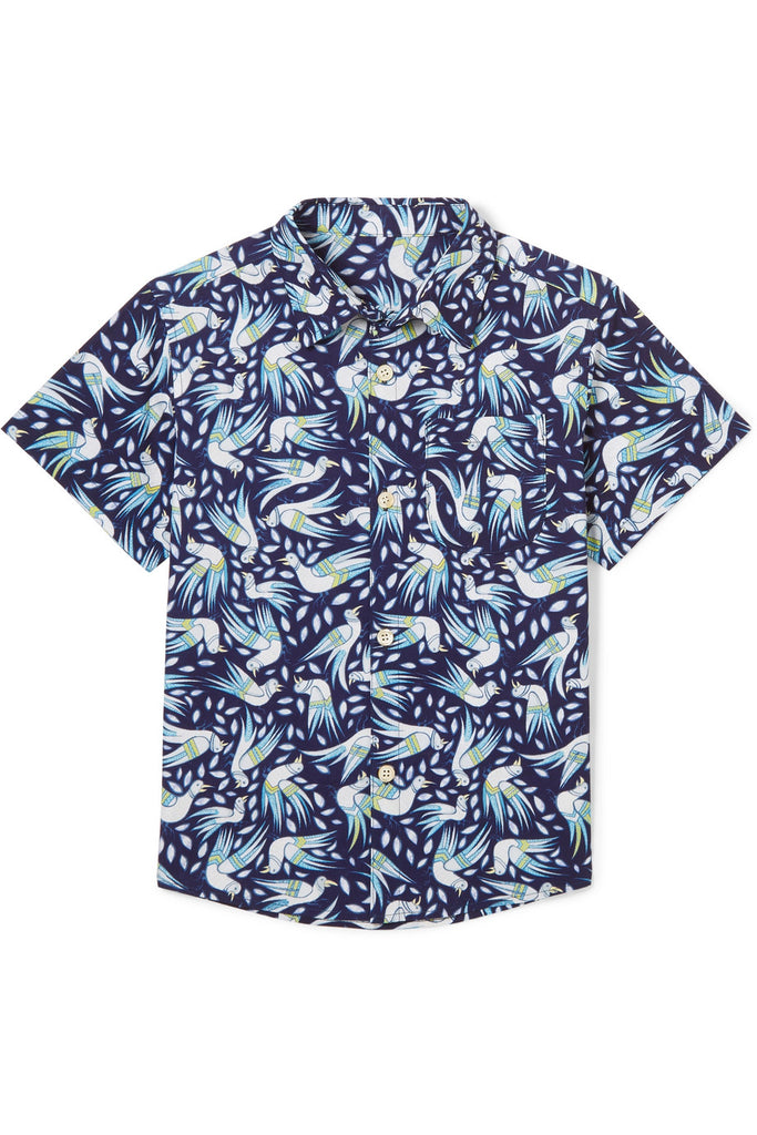 Georgie birds printed cotton-poplin shirt - Thorsun